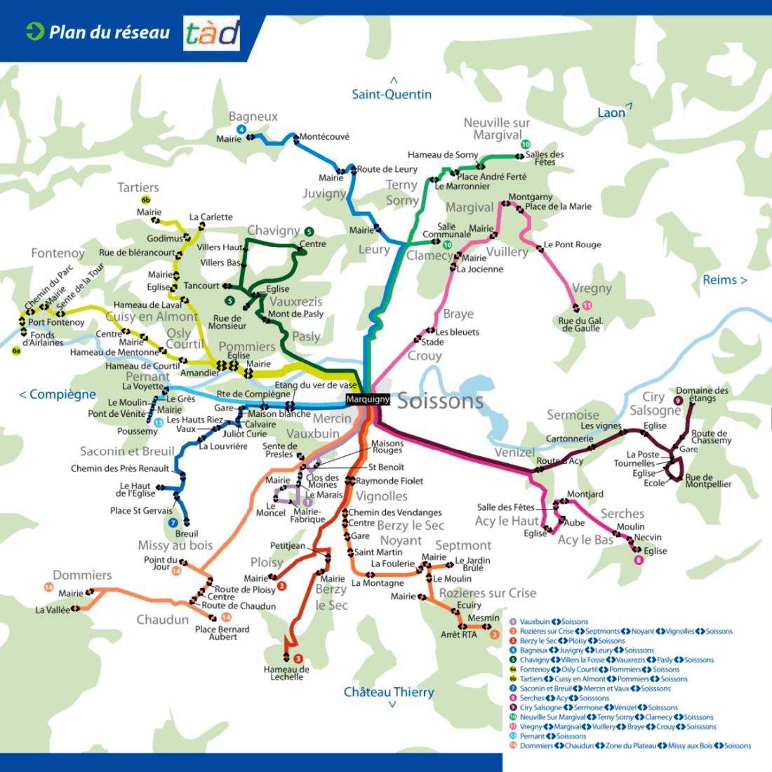Plan du réseau TAD 2015-2016